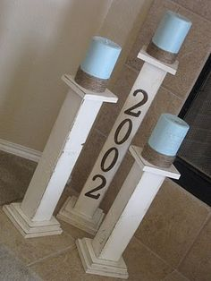 I might try to create these pillars for my lanai but use jar candles on them somehow. So much less mess than pillar candles would resist the wind. Porch Decorating, Decorating Your Home, Diy Home Decor, Pillar Candles, Candle Jars, Candle Holders, Diy Soap Dish Holder, Fireplace Fronts, Shanty 2 Chic