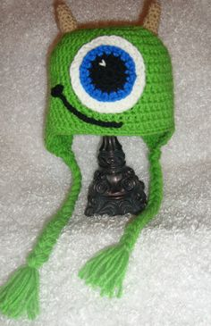 These are the cutest hats. Mike Wazowski Inspired Hat Beanie Monsters by xoxoTouchOfLovexoxo,