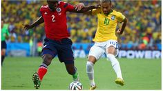 Cristian Zapata of Colombia and Neymar of Brazil Friday, 4 July 2014 FORTALEZA, BRAZIL - JULY 04: Cristian Zapata of Colombia and Neymar of Brazil compete for the ball during the 2014 FIFA World Cup Brazil Quarter Final match between Brazil and Colombia at Castelao on July 4, 2014 in Fortaleza, Brazil.