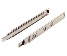 """The Hettich/Grant 5632 ball bearing drawer slide is a telescopic precision full extension slide with cushioned in and out stops and positive hold-in detent. Made of chromated steel with precision ball bearings, the 5632 provides smooth action and high lateral stability. Priced per pair. Weight capacity 100 lbs. (45kg) K.C.M.A. Installation Width: 1/2"""" (12.7mm) Height: 1-13/16"""" (43.3mm)"""
