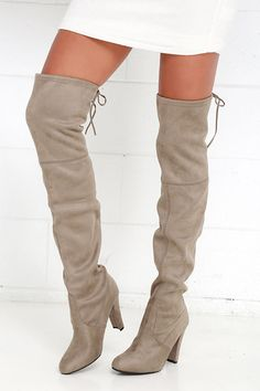 """The name says it all! You'll be absolutely stunning in the Steve Madden Gorgeous Taupe Suede Over the Knee Boots, with soft vegan suede that adorns the almond toe, and 23"""" over-the-knee shaft. Collar has a 15"""" circumference and ties at back with vegan suede laces."""