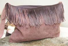 Lavender Suede Purse  Plum Handbag  Fringed by HollyHawkDesigns