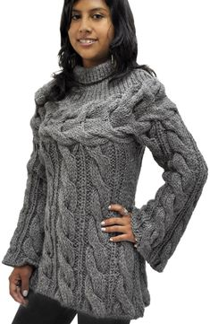 Jersey con Trenzas tejido a mano - 100% lana de Alpaca Chaleco De Lana 17ec8dd1b3cf