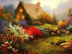 10 Most Inspiring thomas kinkade Ideas Thomas Kinkade Art, Kinkade Paintings, Thomas Kincaid, Art Thomas, Cottage Art, Paintings I Love, Oil Paintings, Pictures To Paint, Beautiful Paintings