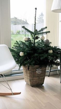 mini tree in a basket with striped ornaments