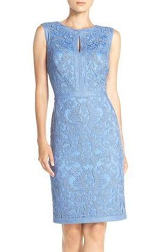 Free shipping and returns on Tadashi Shoji Embroidered Sheath Dress at Nordstrom.com. Leafy embroidery with banded outlines traces the figure-following silhouette of this polished party dress fronted with a keyhole neck for a touch of flirty charm.