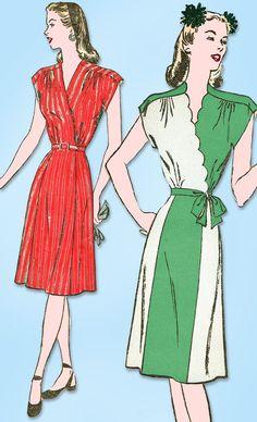 1940s Vintage Advance Sewing Pattern 3951 Uncut WWII Misses Wrap Dress Sz 30 B