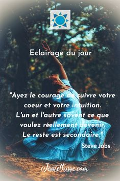 Citation inspirante de Steve Jobs pour éclairer sa voie| Jessie THISSE, Allumeuse d'Etinc'elles| Coach de vie spirituelle| Consultante et Mentor pour Entrepreneures du Bien-être #entrepreneures #spiritualité #developpementpersonnel Daily Motivation, Motivation Inspiration, Intuition, Leadership, Steve Jobs, Meditation, Life Quotes, Internet, Positivity