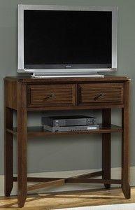 TV cabinet in a dark walnut finish. Made in the USA.