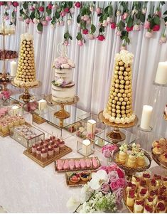 Dessert table, candy table and cake table dessert display table, candy Wedding Cake Table Decorations, Wedding Desserts, Wedding Cupcakes, Wedding Dessert Tables, Sweet Table Wedding, Baptism Dessert Table, Pink Dessert Tables, Desk Decorations, Bridal Shower Desserts