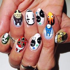 Gonna do soot sprites and forest spirits on my nails. Crazy Nail Art, Crazy Nails, Cute Nail Art, Cute Nails, Japan Nail Art, Anime Nails, Witch Nails, Pointy Nails, Girls Nails