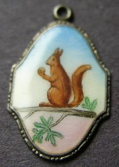 German Silver Enamel Squirrel Charm