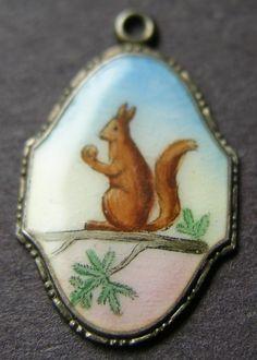 German Silver Enamel Squirrel Charm
