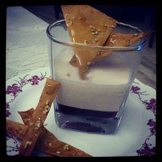 Vanilla panna cotta with blueberry jelly and sesame honey crisps