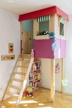 Una buena idea DIY para padres (o madres) con maña. A falta de una casita en el árbol una casita en la habitación.