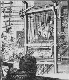 The Weaver, 1698. By Christoph Weigel. The loom can be seen in detail on this engraving, worked with pedals. The worker is about to move the shuttle back through the threads. The man on the left is pulling wool through a weaving comb. A barrel and basket with wools are seen on the foreground. German