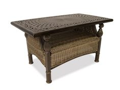 Barcelona Outdoor Wicker 43 x 24 Rectangular Cast Top Coffee Table