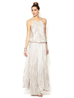 love this, but I am starting to abhor this topknot trend. I mean, does it have to be EVERYWHERE? Alexis Juli Metallic Pleated Maxi Dress