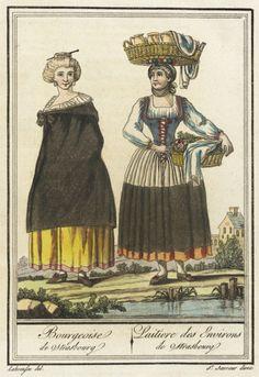 engravings Hand-tinted engraving on paper Sheet: 18th Century Clothing, 18th Century Fashion, Historical Costume, Historical Clothing, Strasbourg, Wachau Valley, Saint Sauveur, Bordeaux, German Fashion
