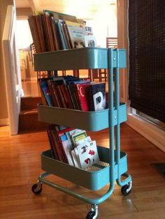 5 Unexpected Storage Solutions For Kids' Books :: Ikea kitchen cart Ikea Kitchen Cart, Ikea Cart, Mini Loft, Book Storage, Kids Storage, Storage Cart, Big Girl Rooms, Boy Room, Storing Kids Books