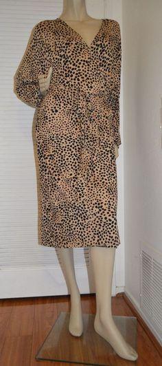 Ava & Viv Target NEW Beige Animal Leopard Print Faux Wrap Jersey Plus Dress 3X #AvaViv #WrapDress