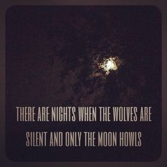 There are nights when the wolves are silent and only the moon howls