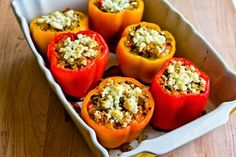 Kalyn's Kitchen®: Vegetarian Stuffed Peppers Recipe with Brown Rice, Mushrooms, and Feta (Gluten-Free)