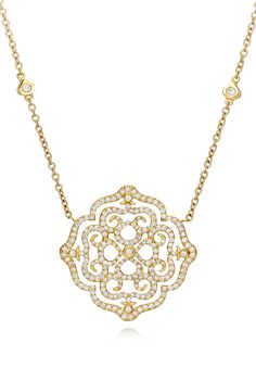 THE VIOLETTO CONTOUR COLLECTION ~ An 18k rose gold lace pendant with Violetto pattern, set with diamonds by Padani