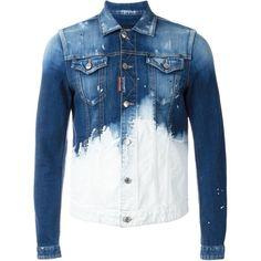 Dsquared2 paint splatter denim jacket (3.235 DKK) ❤ liked on Polyvore featuring men's fashion, men's clothing, men's outerwear, men's jackets, jackets, blue, shirts, tops, mens blue jacket and mens blue jean jackets