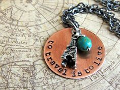 Travel Quote Necklace to travel is to live Hans by ATwistOfWhimsy