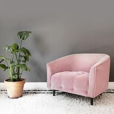 Large dusty pink velvet armchair