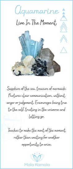 Pin To Save, Tap To Shop The Gem. What is the meaning and crystal and chakra healing properties of aquamarine? A stone for living in the moment. Mala Kamala Mala Beads - Malas, Mala Beads, Mala Bracelets, Tiny Intentions, Baby Necklaces, Yoga Jewelry, Med