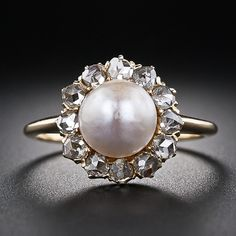 Antique Natural Bouton Pearl and Diamond Ring - Lainey's Engagement Ring