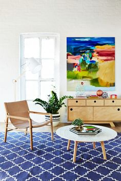 Bright and colorful reading area in living room with painting