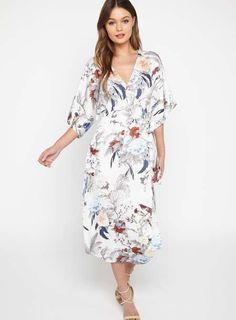 db4eb757b8 Oriental Bird Print Wrap Midi Dress
