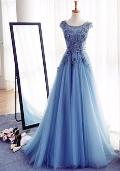 Charming Round Neck Blue Tulle Handmade Long Prom Dress,A-Line prom dress