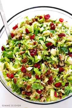 Brussels Sprouts, Cranberry and Quinoa Salad -- so fresh and delicious and healthy, and perfect for Thanksgiving! | gimmesomeoven.com