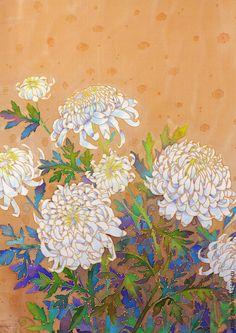 """Шали, палантины ручной работы. Ярмарка Мастеров - ручная работа батик платок """"Белые хризантемы"""". Handmade."""