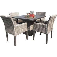 Sol 72 Outdoor™ Rockport 5 Piece Dining Set with Cushions & Reviews   Wayfair Patio Dining, Outdoor Dining Set, 4 Dining Chairs, Arm Chairs, Outdoor Decor, Outdoor Ideas, Dining Furniture, Outdoor Furniture Sets, Furniture Covers
