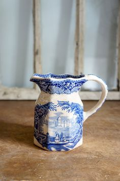 Antique blue ironstone creamer by OliverandRust on Etsy