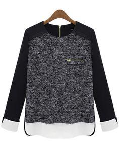 Blusa entallada cremallera mangas largas-Negro EUR€21.21