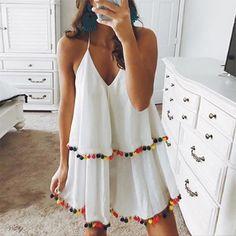 Mode-Stil V Kragen Urlaub Quaste Minikleid - Summer Outfits, Cute Outfits, Summer Dresses, Winter Dresses, Nice Dresses, Casual Dresses, Casual Outfits, Maxi Dresses, Dressy Attire
