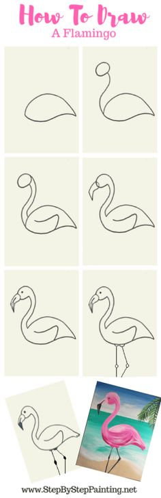 How To Draw A Flamingo Step By Step. Flamingos are such a fun summer art subject to draw, paint and color! In this quick tutorial, I will show you how to draw a flamingo step by step. Draw lightly first until you get the desired line and shape. Step By Step Painting, Step By Step Drawing, Art Drawings For Kids, Easy Drawings, Drawing Ideas, Summer Drawings, Flamingo Painting, Flamingo Drawings, Flamingo Art