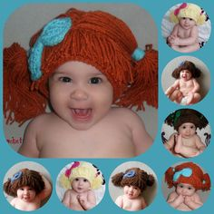 Red Cabbage Patch Wig Hat With Attached Bow. by AdairToCrochet