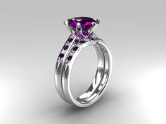I love this Engagement ring set Amethyst engagement white by TorkkeliJewellery