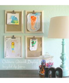 """Create """"clipboards"""" with recycled (or inexpensive) frames to showcase your kid's drawings."""