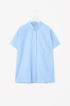 COS image 2 of Flared poplin shirt in Cornflower Blue