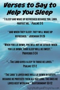 Here are some Bible verses to help little ones who won't sleep...  Having Trouble Getting to Sleep | http://www.happyhealthyandprosperous.com/having-trouble-getting-to-sleep/