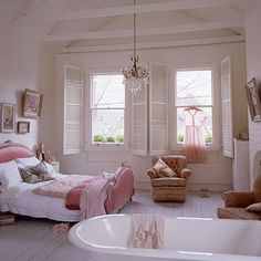 Interior Design Ideas for Girls' Bedroom  - Shabby Chic Bedrooms - pretty color scheme & ideas for girls bedroom.
