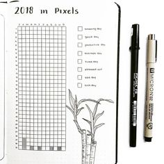 Bullet journal year in pixels, bullet journal yearly day tracker, bamboo drawing. | @thestudiesphase